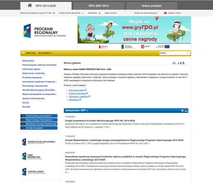 Zrzut ekranu prezentujący nową stronę internetową Regionalnego Programu Operacyjnego dla Województwa Lubelskiego 2007-2013 - realizacja nagrodzona