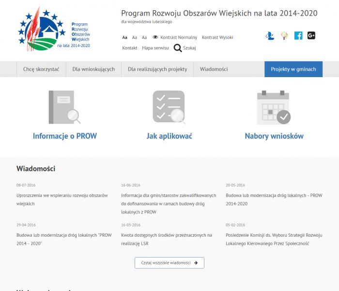 Responsywna strona dla Urzędu Marszałkowskiego w Lublinie nt. funduszy unijnych