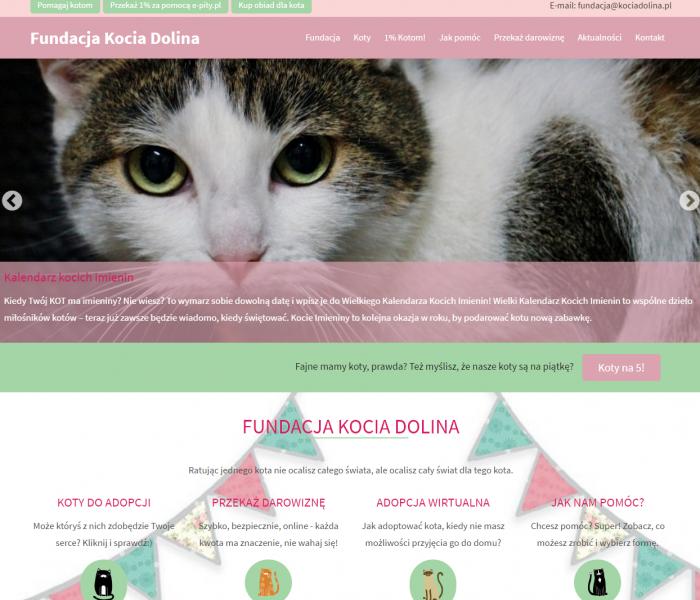 Fundacja Kocia Dolina - zmiany w UX,  szybsze otwieranie się nowej strony  www