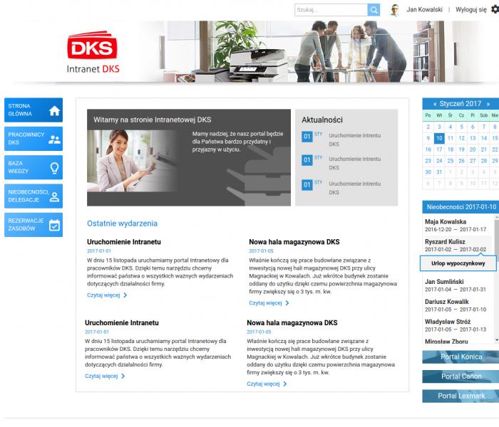 Zrzut ekranu prezentujący intranetową platformę firmy DKS - wewnętrzna strona internetowa z danymi pracowników