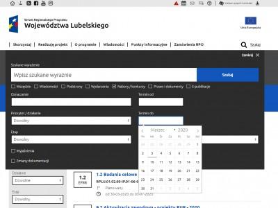 Strona główna z rozwiniętą wyszukiwarką - rpo.lubelskie.pl