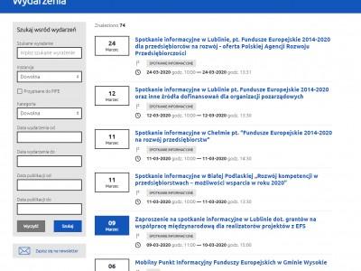 Widok listy naborów z filtrami wyszukiwarki - rpo.lubelskie.pl